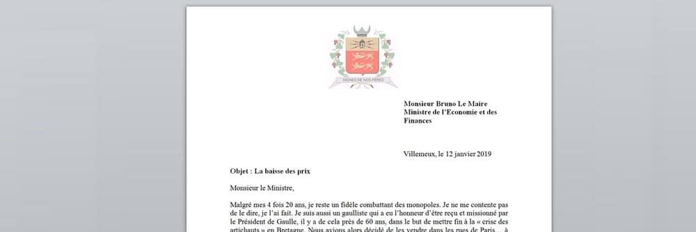 Lettre ouverte à Monsieur Bruno Le Maire